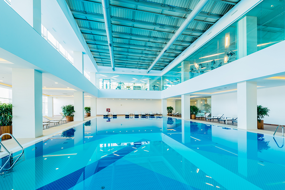 Take a relaxing dip in Morrison Hotel's glass-enclosed swimming pool, the perfect antidote to a busy day in the city